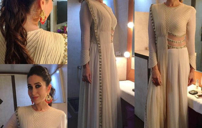 Karishma Kapoor in white jumpsuit saree
