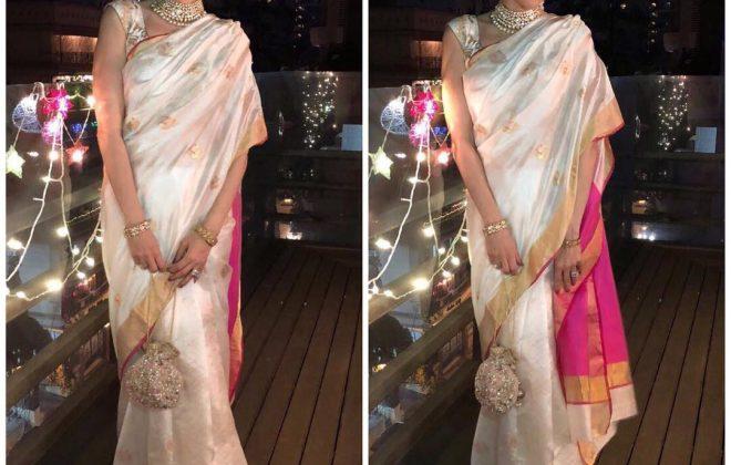 Karishma Kapoor in Mint n' Oranges silk saree