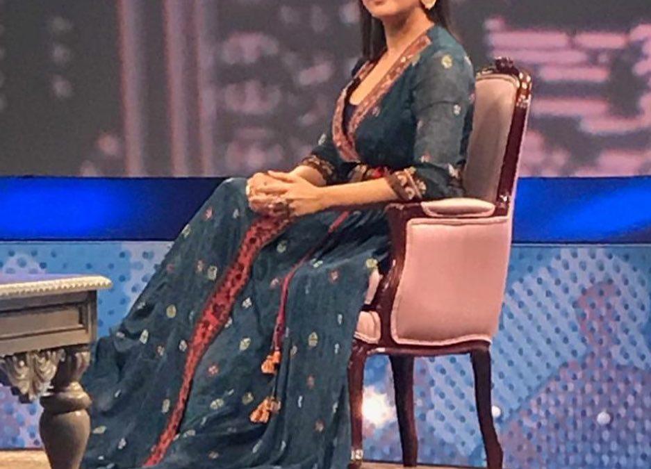Lara Dutta Bhupati for a talk show in Ritu Kumar Label