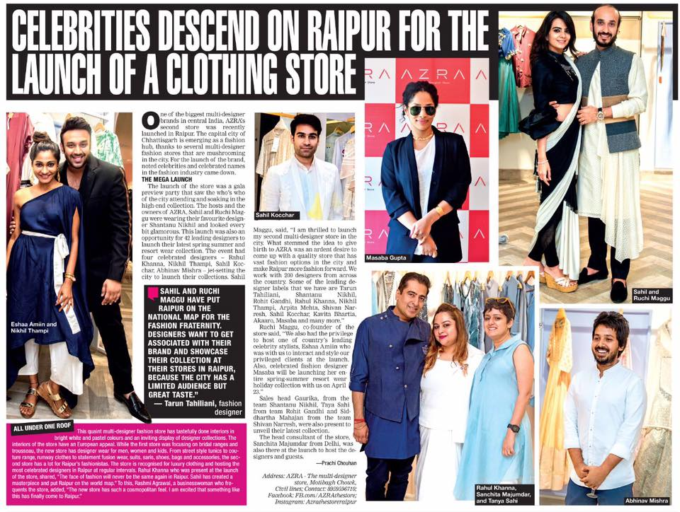 Times Of India Raipur Azra The Store Grand Launch