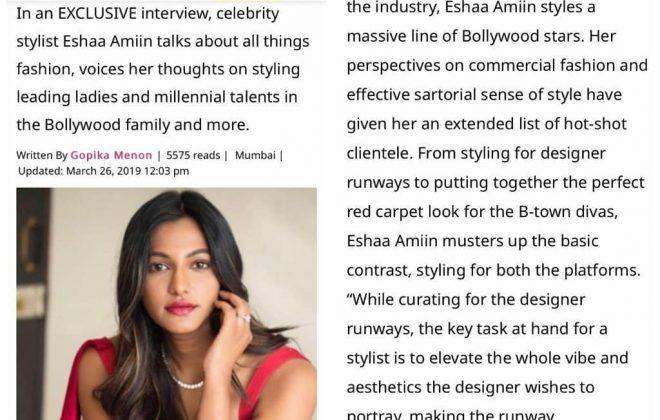 Pinkvilla exclusive interview with celebrity stylist Eshaa Amiin