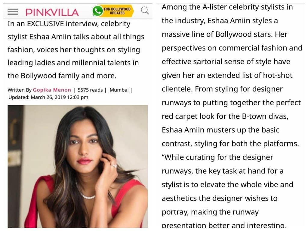 Pinkvilla exclusive interview with celebrity stylist Eshaa Amiin