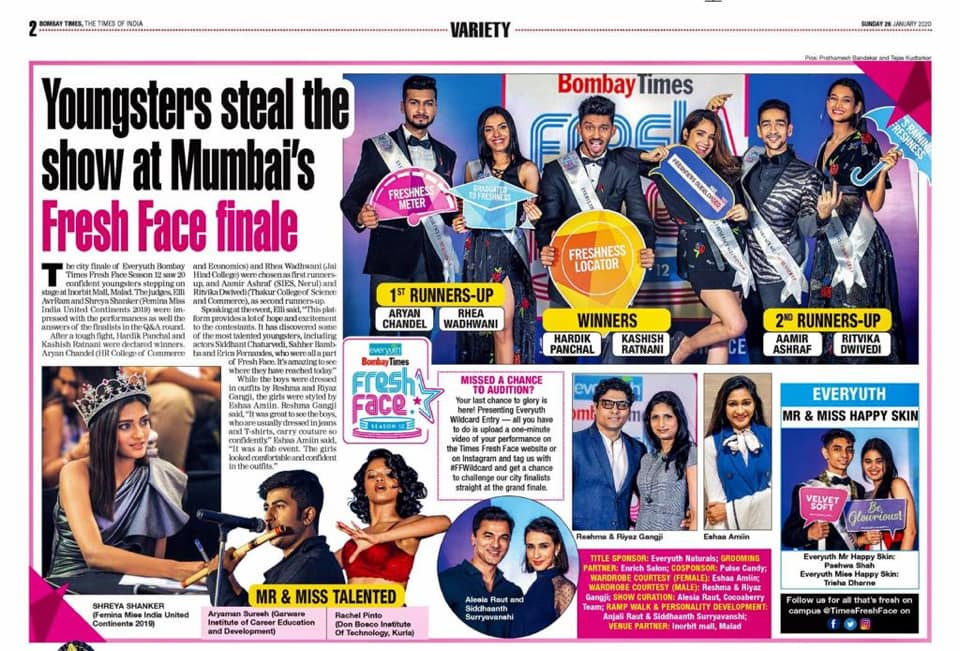 Times of India  Times Fresh Face  Mumbai Finale